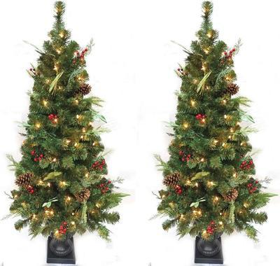 Home Accents Holiday 5 Ft. Pre-lit Led Woodmoore Artificial Christmas Tree With 70 Warm White Lights (2-pack)