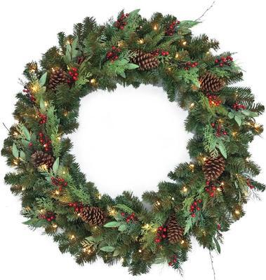 Home Accents Holiday 48 In. Pre-lit Led Woodmoore Artificial Christmas Wreath