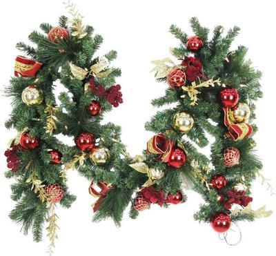 Home Accents Holiday Plaza 9 Ft. Battery Operated Plaza Artificial Garland With 50 Clear Led Lights