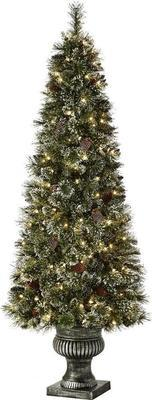Home Accents Holiday 6.5 Ft. Pre-lit Sparkling Amelia Pine Potted Artificial Christmas Tree With 490 Tips And 200 Clear Lights