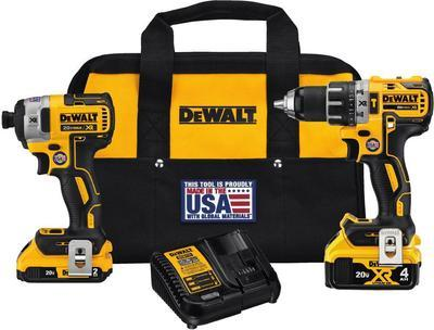 Dewalt 20-volt Max Xr Lithium-ion Cordless Brushless Drill/impact Combo Kit (2-tool) With (1) Battery 2ah And (1) Battery 4ah