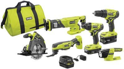 Ryobi 18-volt One+ Lithium-ion Cordless 6-tool Combo Kit With (2) Batteries, Charger, And Bag