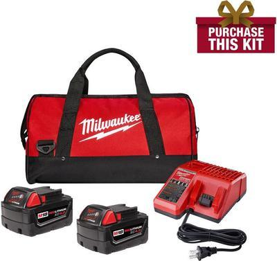 Milwaukee M18 18-volt Lithium-ion Xc Starter Kit With Two 4.0 Ah Batteries, Charger And Contractor Bag