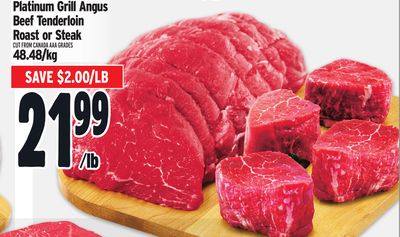 Platinum Grill Angus Beef Tenderloin Roast or Steak