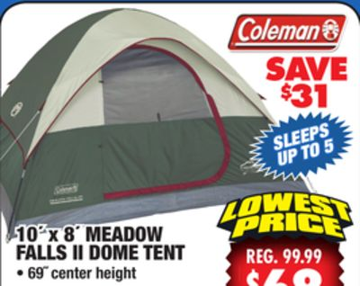 Coleman Meadow Falls 5-Person Dome Tent & Coleman Meadow Falls 3 Person Tent u0026 Coleman 8-Person Red Canyon ...