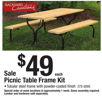 Menards - Tubular picnic table frame
