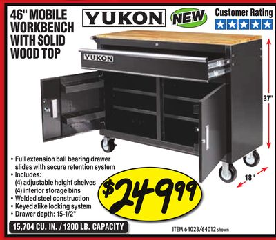Harbor freight tools weekly ad for madison this week may 1 2018 46 mobile workbench with solid wood top keyboard keysfo Image collections