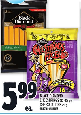 BLACK DIAMOND CHEESTRINGS 252 - 336 g or CHEESE STICKS 252 g
