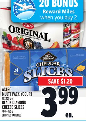 ASTRO MULTI-PACK YOGURT 12 X 100 g or BLACK DIAMOND CHEESE SLICES 400 - 450 g