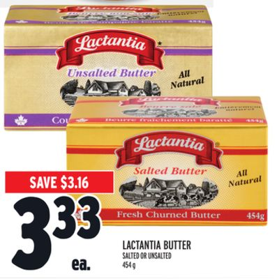 LACTANTIA BUTTER SALTED OR UNSALTED