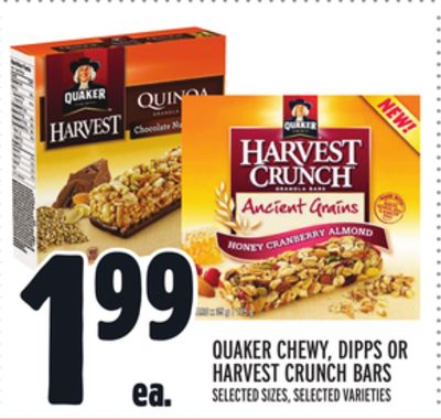 QUAKER CHEWY, DIPPS OR HARVEST CRUNCH BARS
