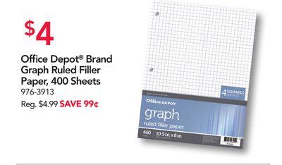 Office Depot Brand Graph Ruled Filler Paper 400 Sheets