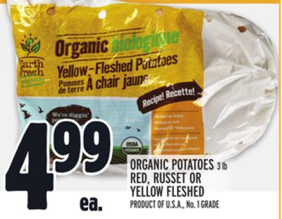 ORGANIC POTATOES 3 lb RED, RUSSET OR YELLOW FLESHED