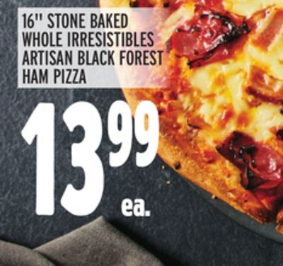 """16"""" STONE BAKED WHOLE IRRESISTIBLES ARTISAN BLACK FOREST HAM PIZZA"""