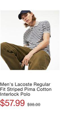 Men s Lacoste Regular Fit Striped Pima Cotton Interlock Polo a74eb9f2c3d4