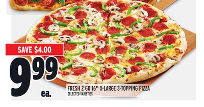 """FRESH 2 GO 16"""" X-LARGE 3-TOPPING PIZZA"""