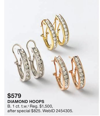 7463111d494c Macy s Diamond J Hoop Earrings (1 ct. t.w.) in 10k Gold