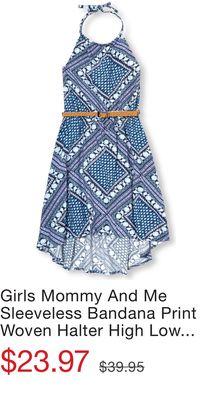 ffed06d1a6 Girls Mommy And Me Sleeveless Bandana Print Woven Halter High Low Matching  Dress