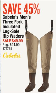 8f75fff179f Cabela s Men s Three Fork Insulated Lug-Sole Hip Waders