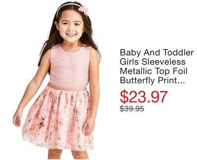 0bd96b54e4b Baby And Toddler Girls Sleeveless Metallic Top Foil Butterfly Print Knit To  Woven Dress