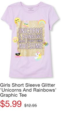 587f0b5a12c Girls Short Sleeve Glitter  Unicorns And Rainbows  Graphic Tee