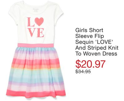 5fa0eabfbc6 Girls Short Sleeve Flip Sequin  LOVE  And Striped Knit To Woven Dress