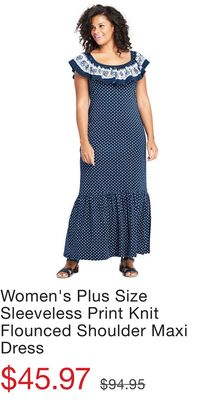 8930c753dcf Women s Plus Size Sleeveless Print Knit Flounced Shoulder Maxi Dress