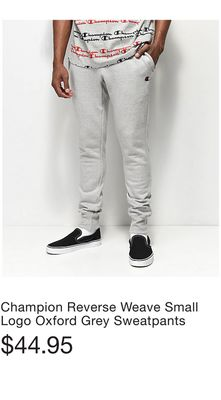2a9c3bed3 Champion Reverse Weave Small Logo Oxford Grey Sweatpants. Champion Reverse  Weave Black Joggers Pants. Champion Men s Rally Pro ...