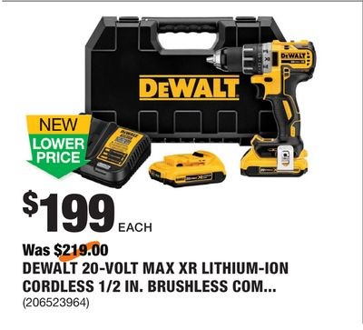 e9878cf2b485 DEWALT 20-Volt MAX XR Lithium-Ion Cordless 1 2 in. Brushless Compact  Drill Driver Kit with (2) Batteries 2Ah