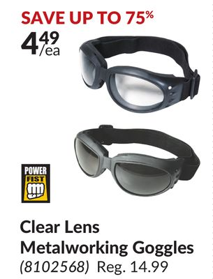 df7bf83e38 Power Fist Clear Lens Metalworking Goggles