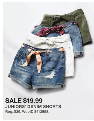 cd57ffb532 Vanilla Star Juniors' Bandanna-Belted Cuffed Denim Shorts