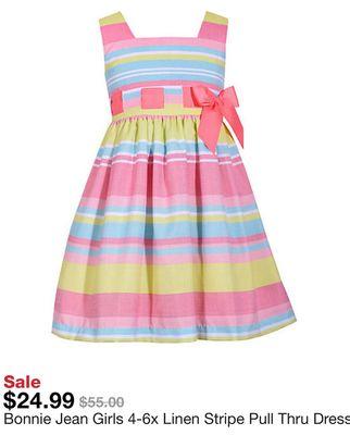 b8bb639f070 Bonnie Jean Girls 4-6x Linen Stripe Pull Thru Dress