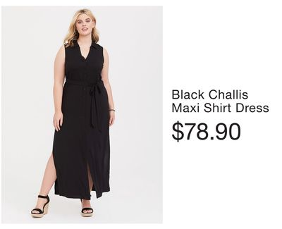 45d2ba1949 Black Challis Maxi Shirt Dress