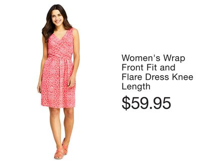 f626f0bbd Women's Wrap Front Fit and Flare Dress Knee Length. Women's Plus Size ...