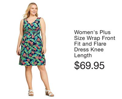 91c8bb5c Women's Plus Size Wrap Front Fit and Flare Dress Knee Length