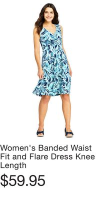 36b145556 Women's Banded Waist Fit and Flare Dress Knee Length. Women's Plus Size ...