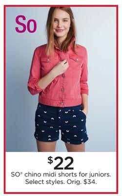 553f11b2d7d6d SO® Chino Midi Shorts for Juniors