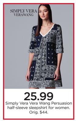 68652908690 Simply Vera Vera Wang Persuasion half-sleeve sleepshirt for women