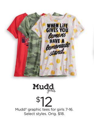 9284b3f4030 Mudd® graphic tees for girls 7-16 - Flipp