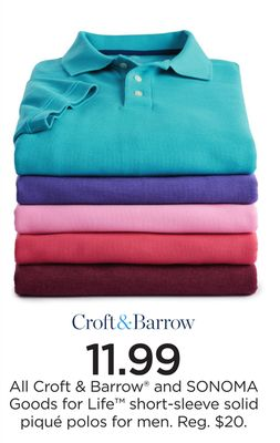 def681d2 All Croft & Barrow® and SONOMA Goods for Life™ short-sleeve solid piqué  polos for men
