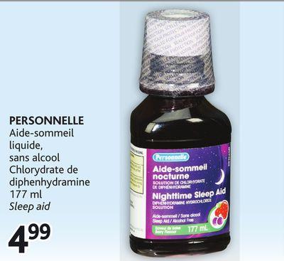 43b0a11103 PERSONNELLE Aide-sommeil liquide, sans alcool Chlorydrate de diphenhydramine