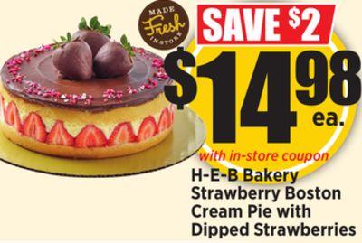 H E B Bakery Strawberry Boston Cream Pie With Dipped Strawberries