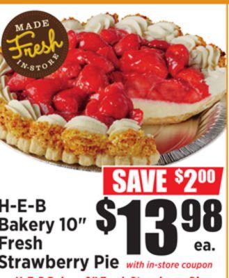 H E B Bakery 10 Fresh Strawberry Pie