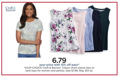 4a4b1519 Croft & Barrow® Classic Short-Sleeve Tees Or Tank Tops For Women And Petites