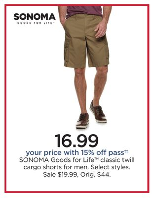 6ded9955ba SONOMA Goods For Life™ Classic Twill Cargo Shorts For Men