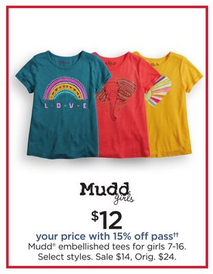 7fbf496d Mudd® Embellished Tees For Girls 7-16
