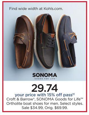 d004fcc50c Croft & Barrow®, SONOMA Goods For Life™ Ortholite Boat Shoes For Men