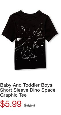 998235d3d77c3 Baby And Toddler Boys Short Sleeve Space Dino Graphic Tee - Flipp
