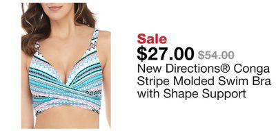 34bed3fcb2 New Directions® Conga Stripe Molded Swim Bra with Shape Support