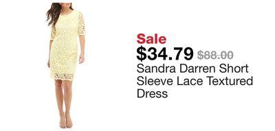d7d3c63ea3a7 Sandra Darren Short Sleeve Lace Textured Dress